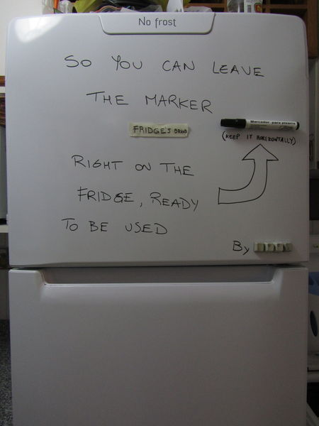 So you can leave the marker right on the fridge, ready to be used